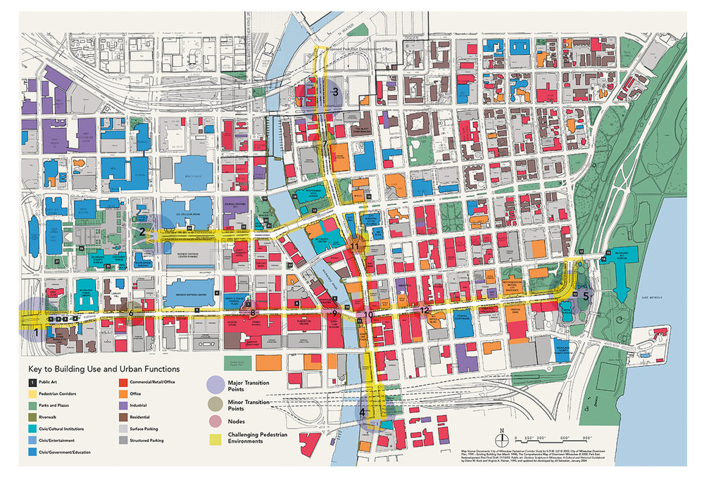 Inventory and Analysis of three main downtown thoroughfares identified major and minor transition points and five nodes. Public art demonstration project was identified for Node 5.
