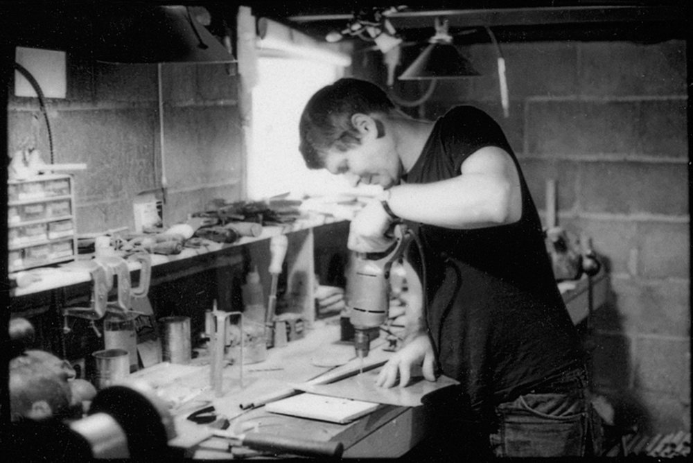 Nelson works on the Sculpture Clock, mid-1960s