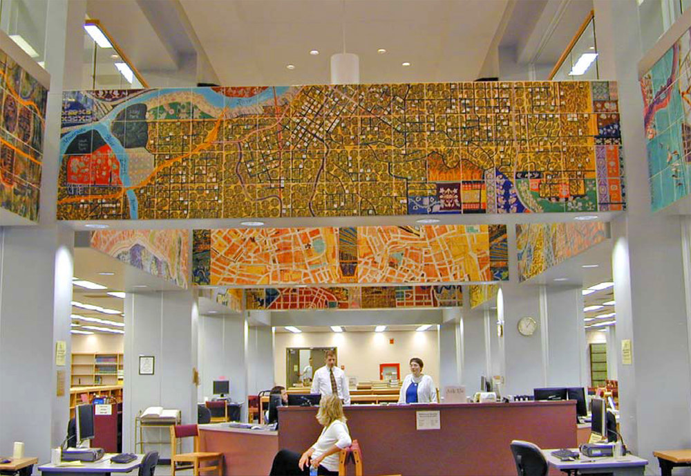 Around the World on the 44th Parallel. Twelve-panel hand-painted ceramic tile mural by Joyce Kozloff at Mankato (Minnesota) State University Library.