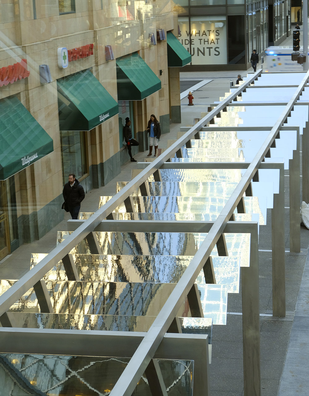 Light Walk reflects surrounding architecture when viewed from second floor skyways