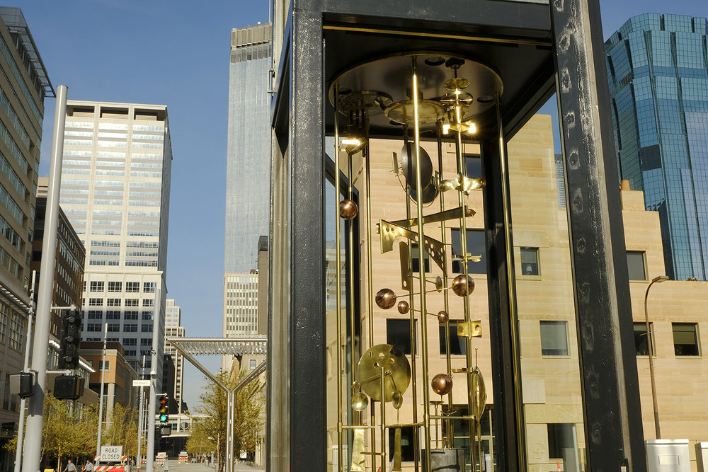 Jack Nelson's meticulously restored perpetual motion Sculpture Clock is the only element remaining from Lawrence Halprin's original 1968 design for Nicollet. Halprin invited Nelson to create the work - an early example of artist-designer collaboration.
