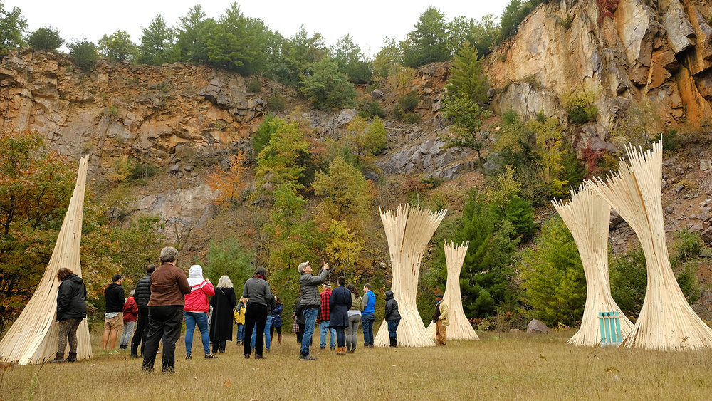 XYLEMXYL sound sculptures by Peter Krsko take advantage of the acoustics of Abelman's Gorge