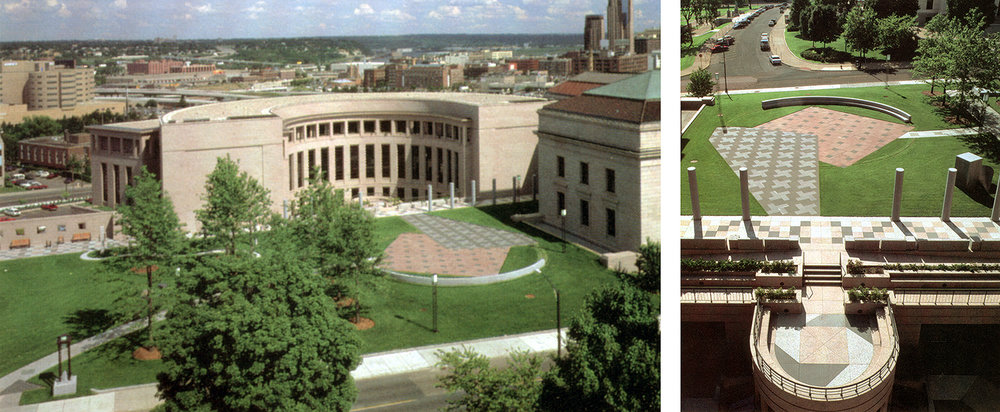 East Capitol Plaza at Minnesota State Capitol by Richard Fleischner includes site design, paving, dimensional stone elements, benches, lights and landscaping. (Aerial Photos: George Heinrich published in  Architecture Minnesota , March-April 1992.)