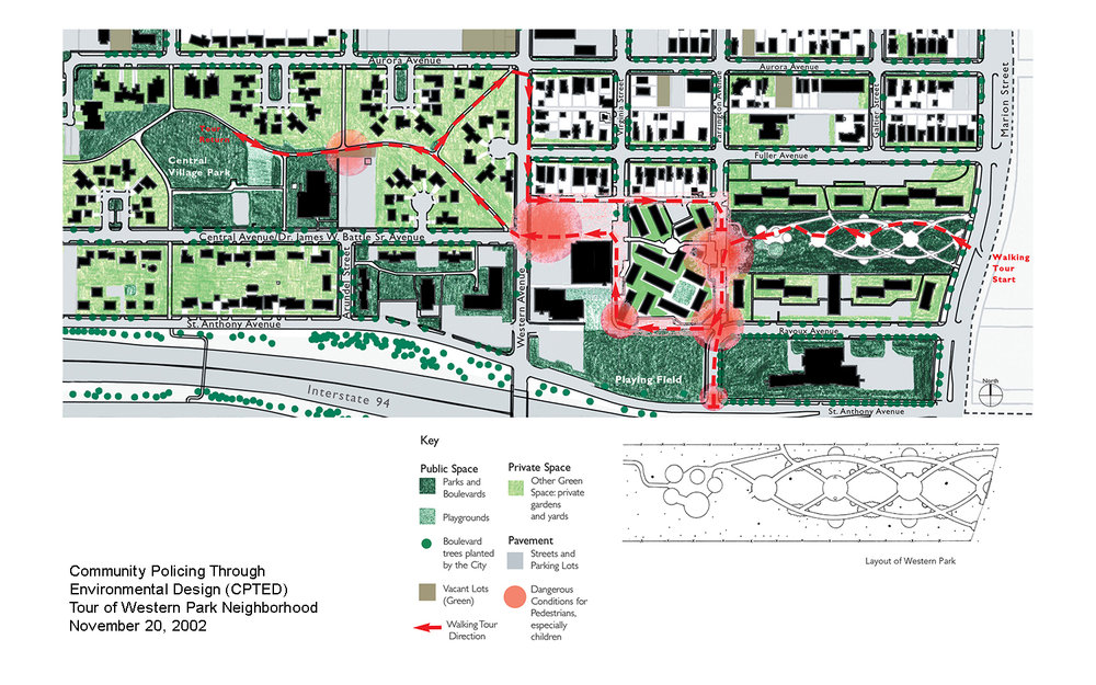 CPTED Tour of Western Park Neighborhood Map
