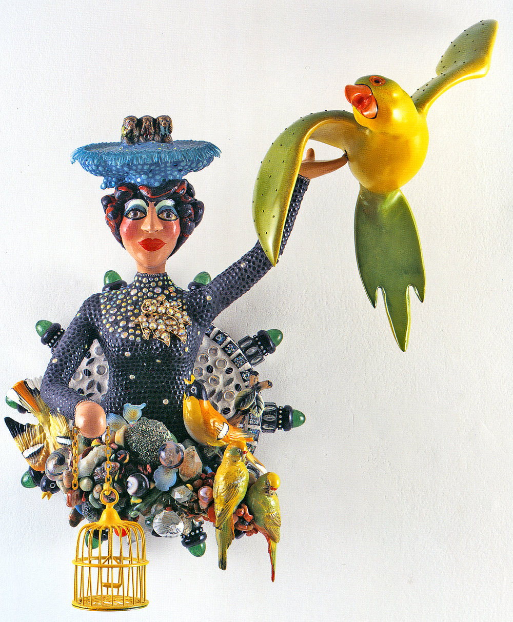Bye, Bye, Birdie , 2003. Photo: Gus Gustafson. This work has a particular resonance for me; the sparkly brooch belonged to my mother, Hazel Flanagan. After she passed away, I shared her cache of costume jewelry with Judy and this piece found its way into a sculpture.
