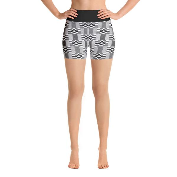 Black & White Kente Yoga Shorts, $32.00 - Ruva Afric Wear
