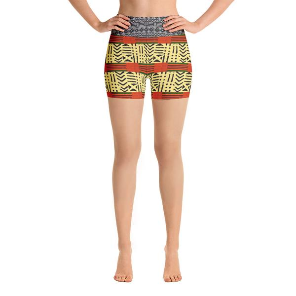Kente & Mud Cloth Fusion Yoga Shorts, $32.00 - Ruva Afric Wear