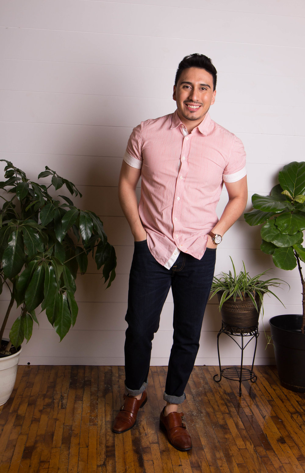 Dark denim is a casual way to look effortlessly elevated. Add a short-sleeve button up and you're ready for drinks on the patio.