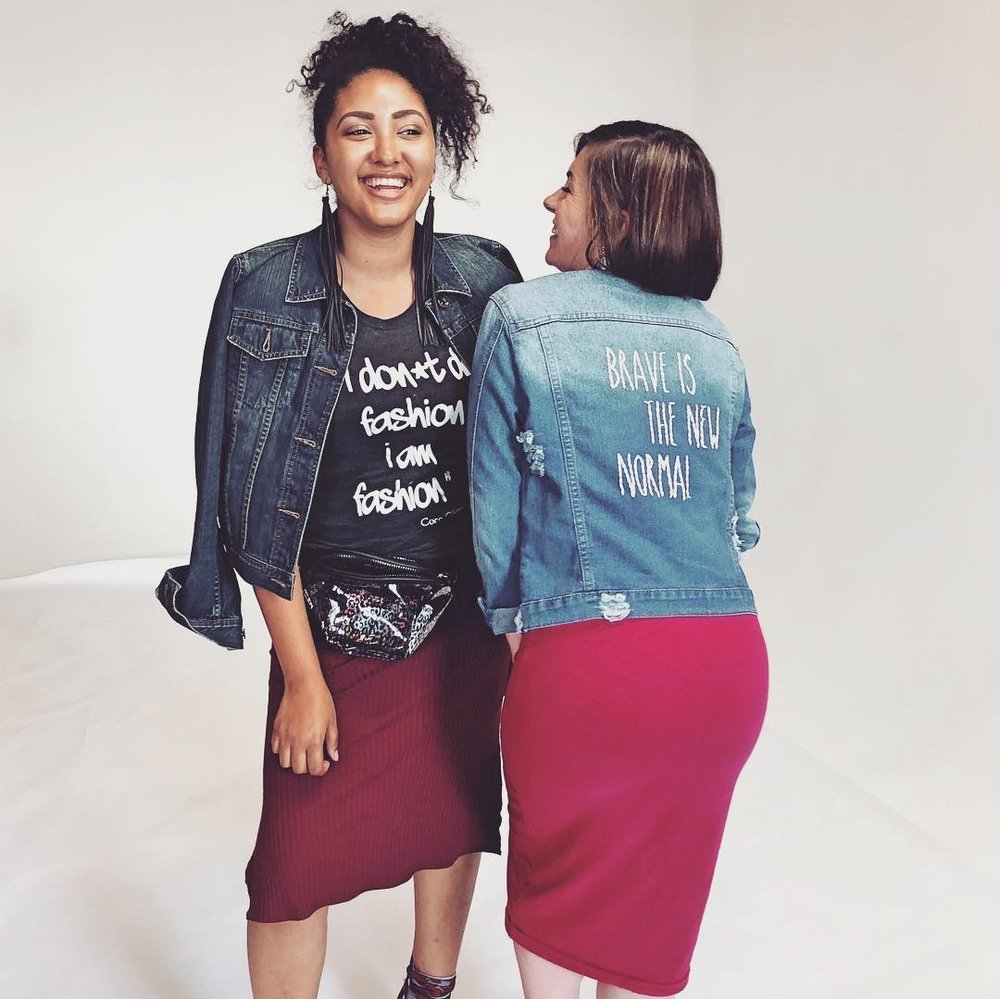 Editor-in-Chief, Meghanlee Phillips and Creative Director, Michaela Rae, rocking their on-trend denim jackets!