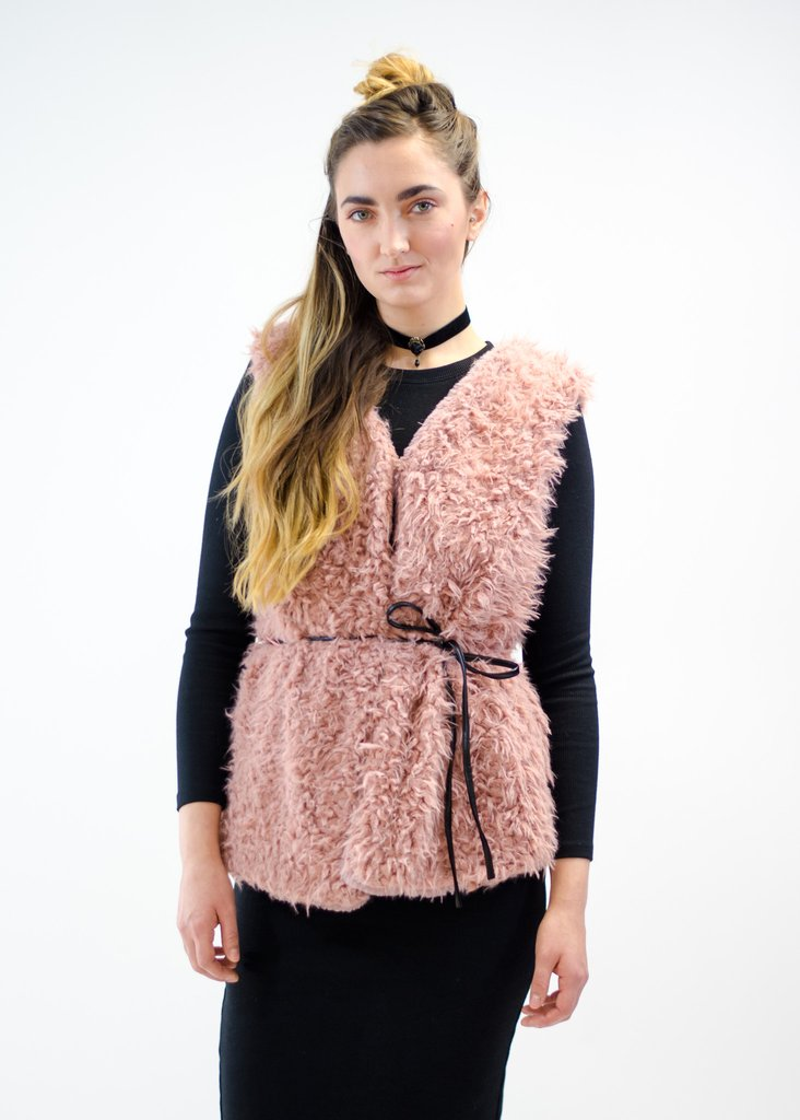 Blush Faux Fur Vest,  FROM ANNY  - $27