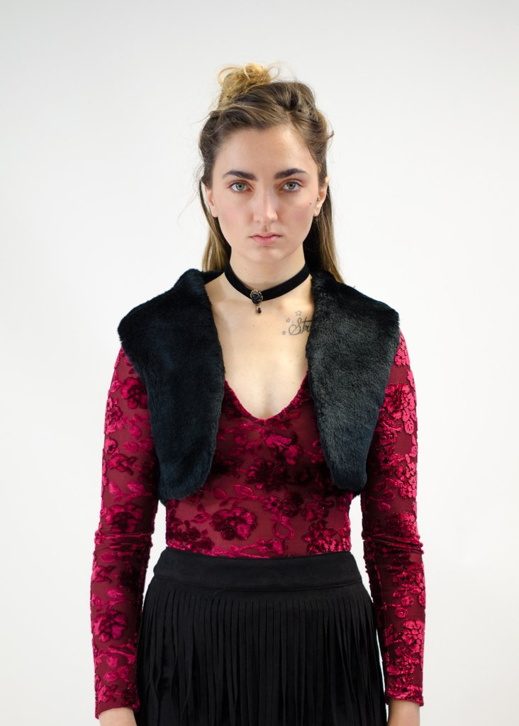 Cropped Faux Fur Vest, FROM ANNY - $21.80