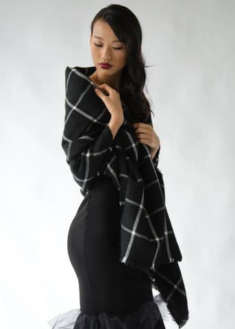 Black Plaid Blanket Scarf: $19,  From Anny