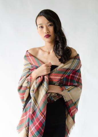 Plaid Blanket Scarf: $19,  From Anny