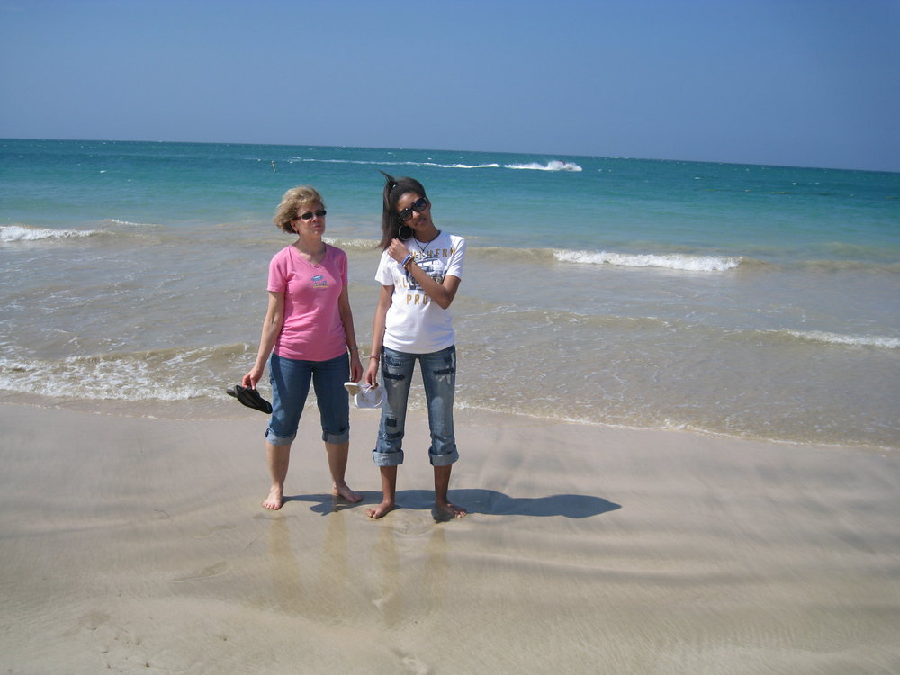 My mama and I in the crystal clear coast in San Juan, Puerto Rico