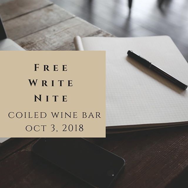 It's that time again! 🖊📓 💻 Every month we meet with local writers for a few hours of writing, networking, and sipping wine at the lovely @coiledwinebar. October's Freewrite Nite is this Wednesday, October 3rd from 6-8 pm. Hope to see you there! **Hit the link in our bio for more info.**