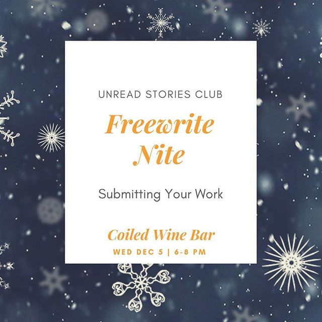 Holy moly, it's time! Join us TOMORROW for the last Freewrite Nite of the year! We'll be talking about how to submit your writing to publications, and we'll be doing the usual writing and drinking of wine. ❄️❄️❄️❄️ This is our last meetup until February, so bundle up and head down to @coiledwinebar tomorrow night. See you then!