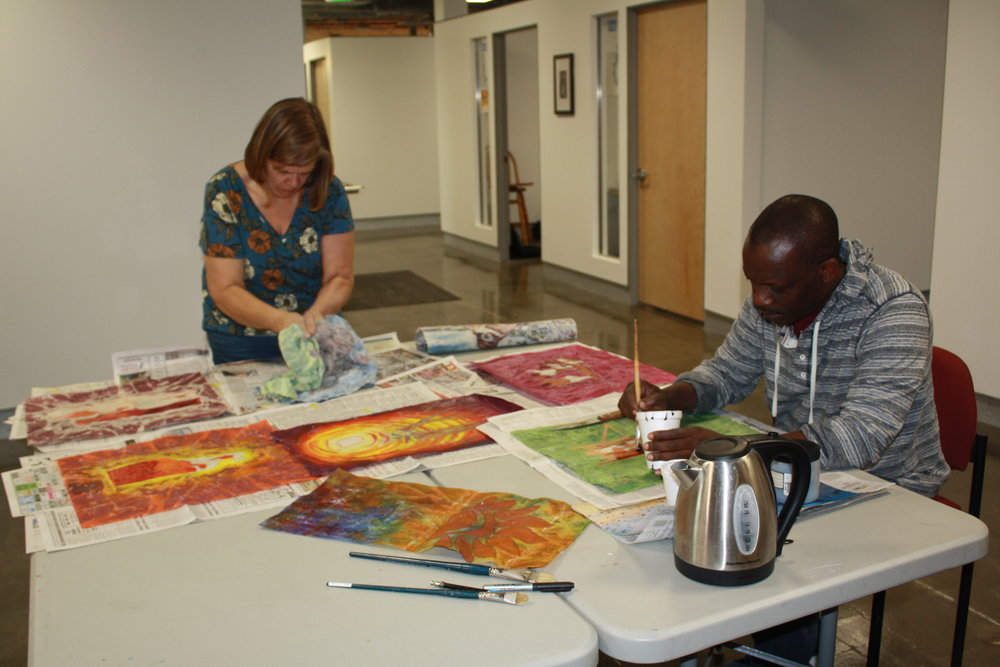 Tacke and Osman met monthly at The Gem Center for the Arts to produce batiks as part of an apprenticeship program offered by the Idaho Commission on the Arts' Folk and Traditional Arts Program.