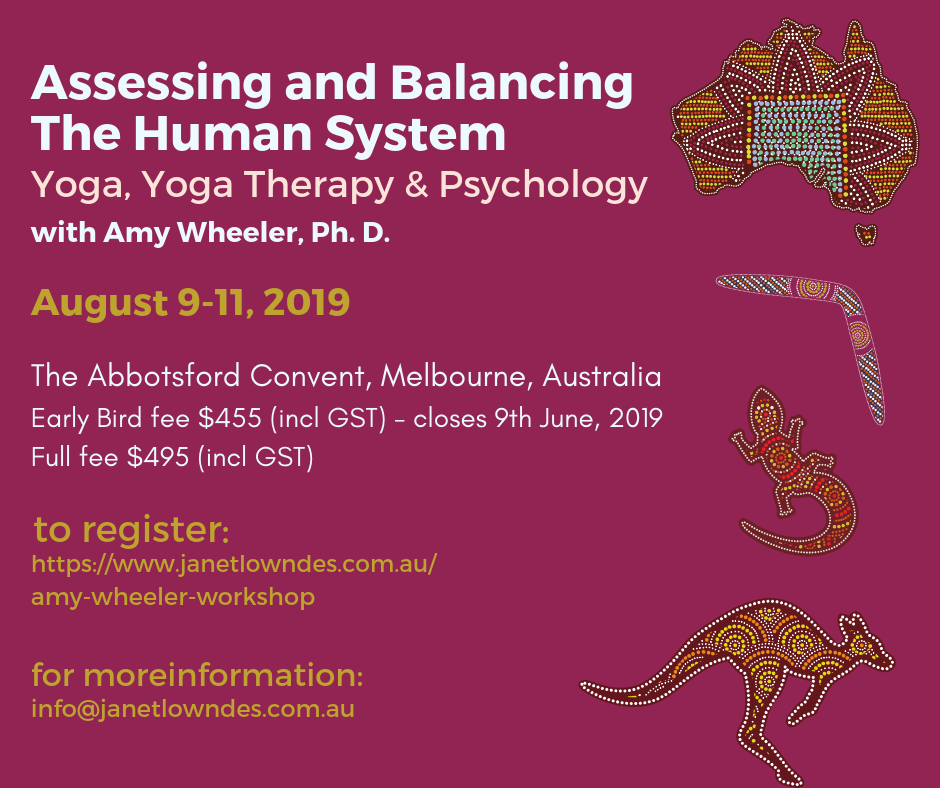 Amy Wheeler Workshop - Janet Lowndes and Leigh Blashki are pleased to be hosting Amy on her first visit to Australia, presenting her Optimal State training for Yoga Teachers, Yoga Therapists, and Mental Health Professionals.