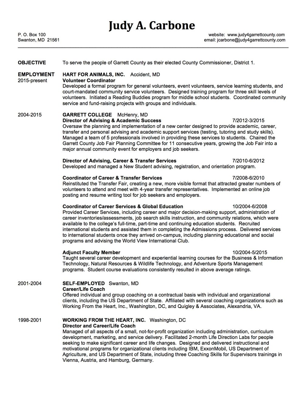 judy carbone candidate resumejpg - What Should My Resume Look Like