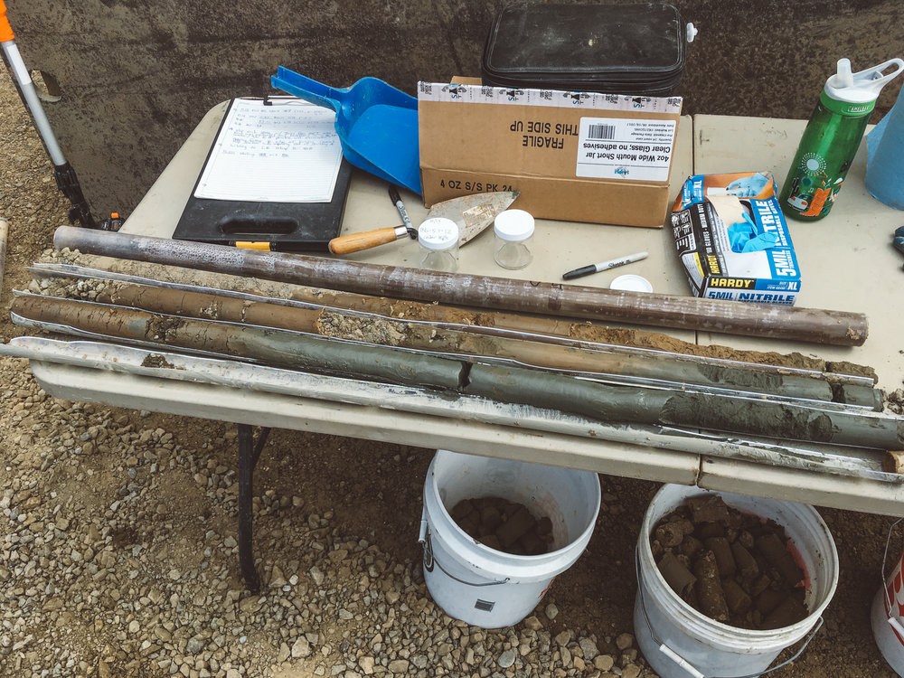 Our detailed examination of soil cores collected with our in-house drill rig is an important step in our work.