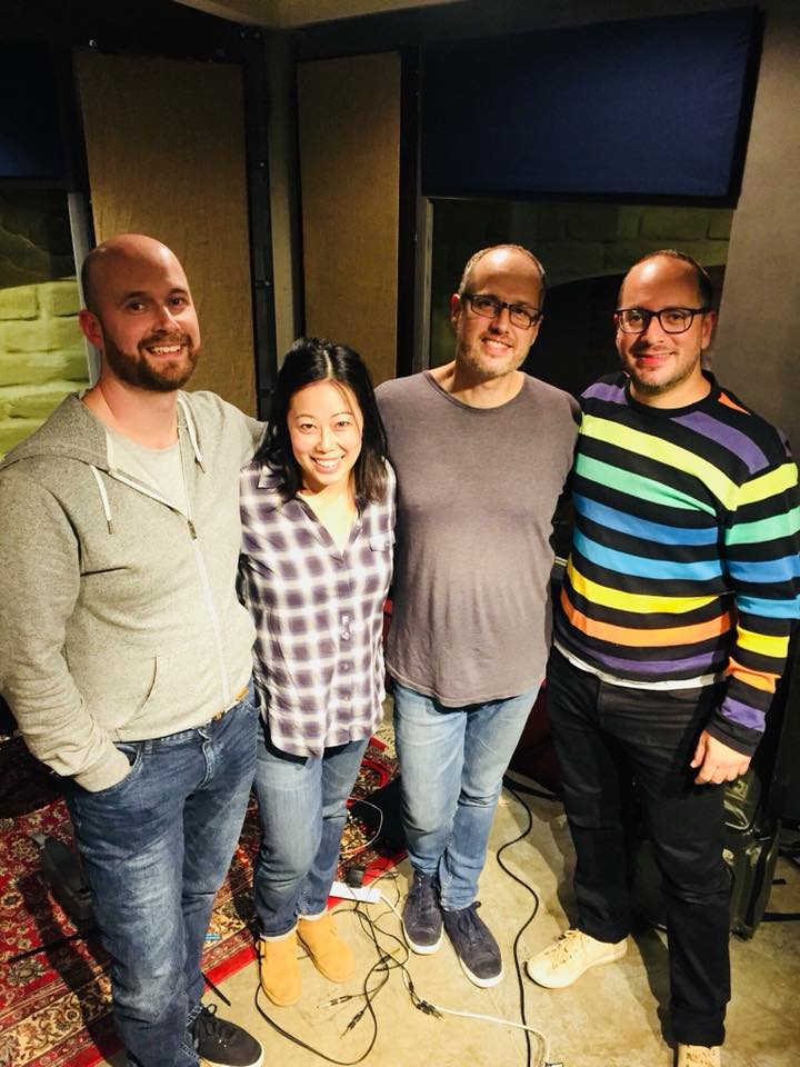 Happy faces after a day's recording -Rolling Stock Studios, May 2018 - Featuring Craig Strain (electric bass), Louise Goh (keys and piano), Darryn Farrugia (drums) and Gideon Brazil (flute and saxophones)