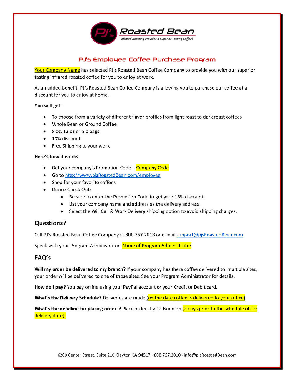PJ's Roasted Bean Employee Coffee Purchase Program Info Sample