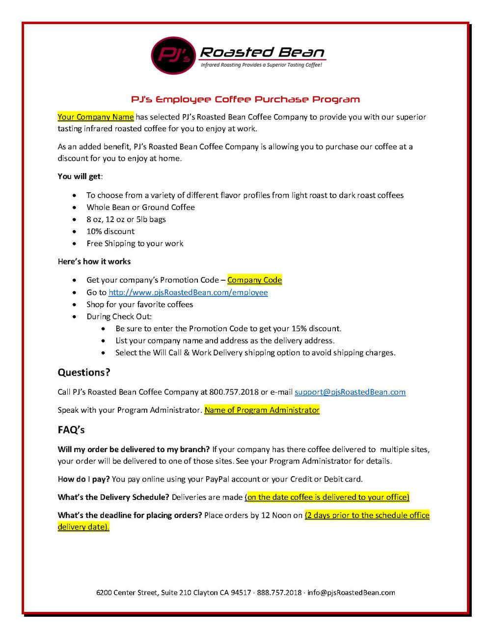 Office Coffee Program — PJ's R...