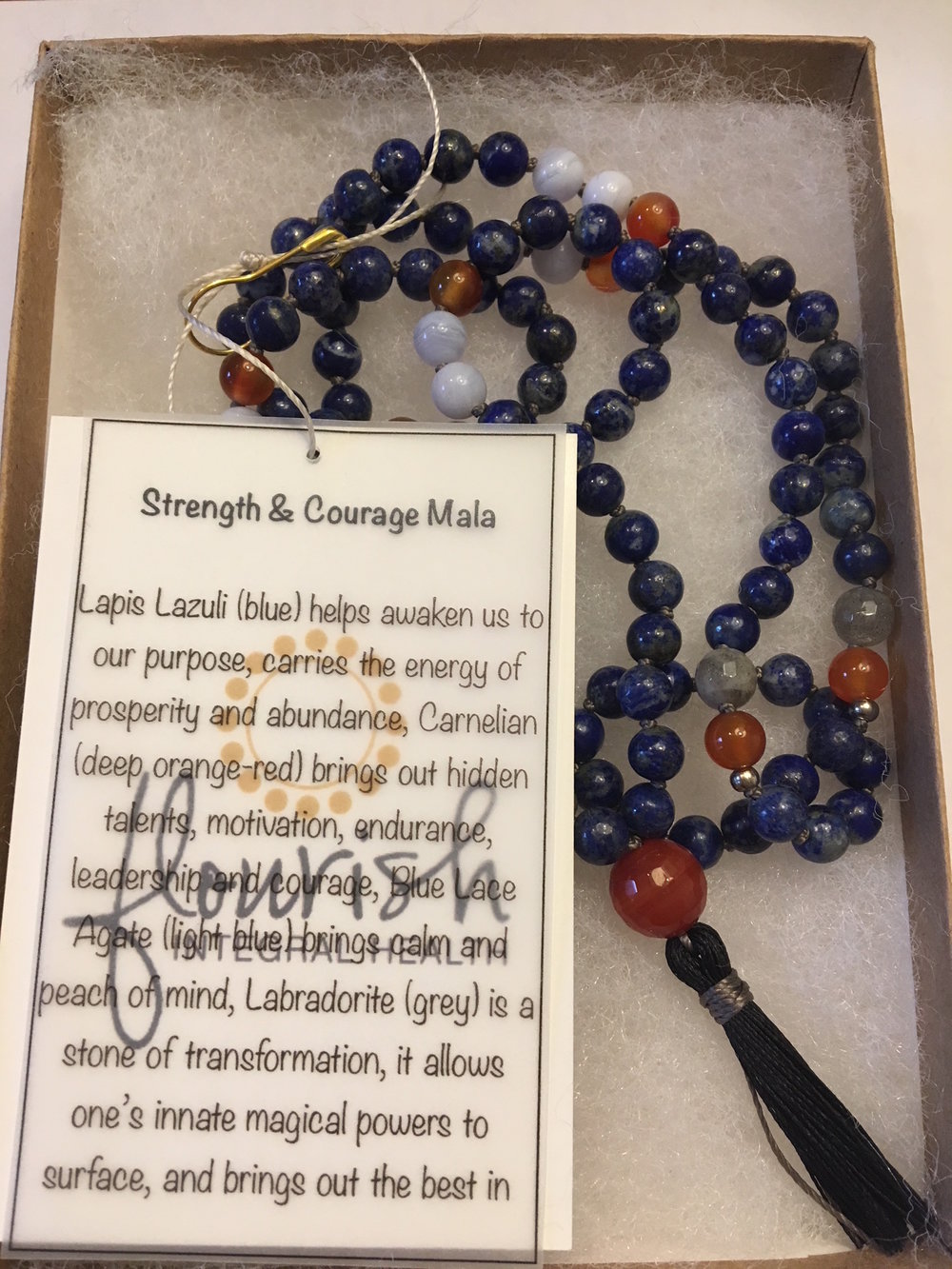 Strength & Courage Mala  (6mm)  Lapis Lazuli (blue) helps awaken us to our purpose, carries the energy of prosperity and abundance, Carnelian (deep orange-red) brings out hidden talents, motivation, endurance, leadership and courage, Blue Lace Agate (light blue) brings calm and peach of mind, Labradorite (grey) is a stone of transformation, it allows one's innate magical powers to surface, and brings out the best in people.