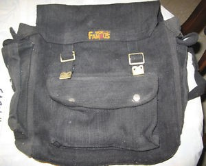 The World Famous knapsack, - though we used the brown one so the black, marker-written band names would show up.
