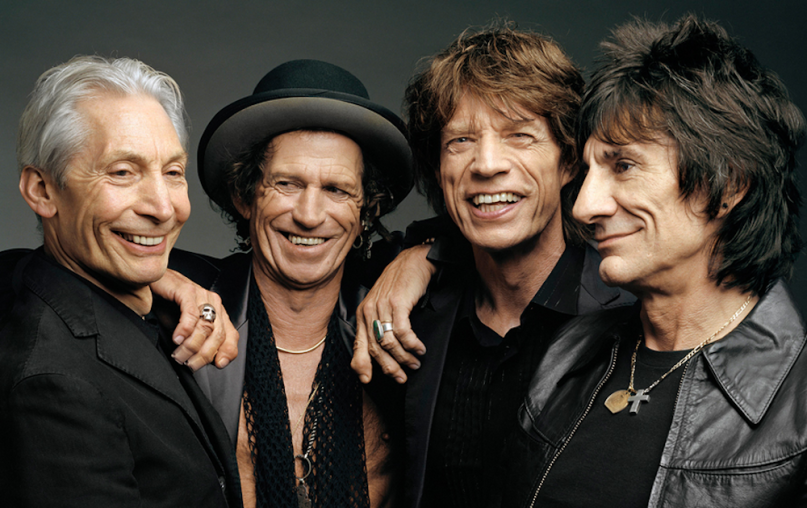 The Rolling Stones today: Charlie, Keith, Mick, and Ron. Bill Wyman left the band in 1993.