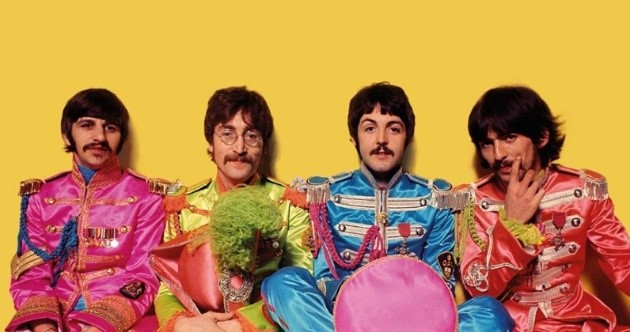 The psychedelic and colourful Beatles, when mustaches were required: Ringo, John, Paul, and George