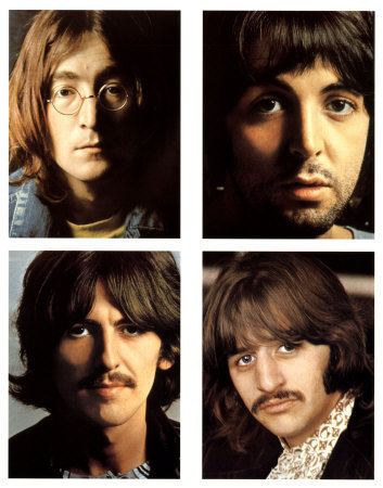 The pictures of The Beatles included with the White Album, clockwise from top left: John Lennon, Paul McCartney, Ringo Starr, and George Harrison