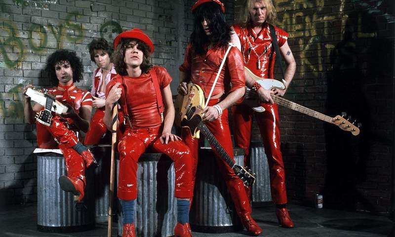 New York Dolls, dressed by Malcolm McLaren in red leather