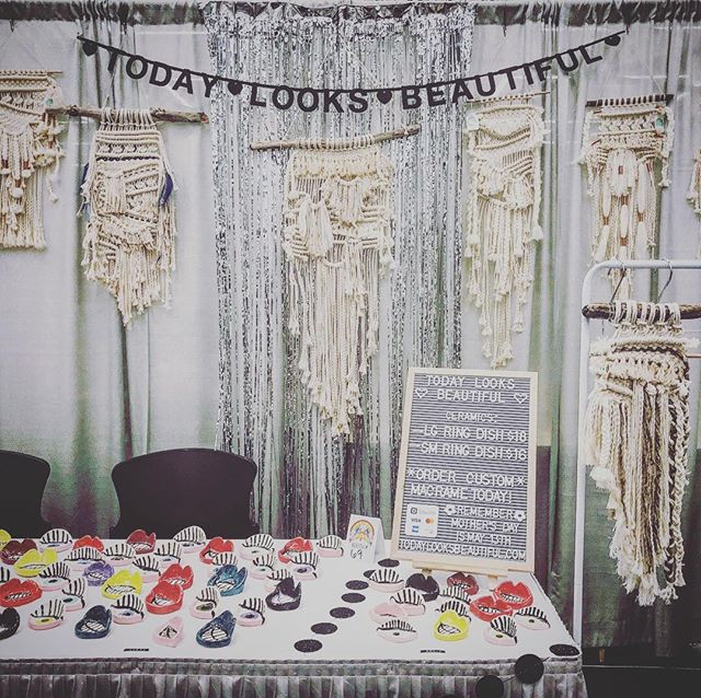 Here's a look at my booth setup for @craftywonderland ! I'm working now on updating my store on my website so look for these products to be available there in the next few days 💗💗💗 . . . . . . . #todaylooksbeautiful #localartist #cwspringmarket #craftywonderland #macramewallhanging #ceramics #craftfair #craftfairdisplay #localbusiness #makersgonnamake