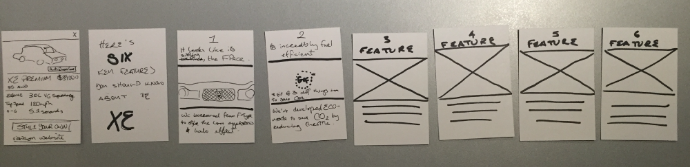 Paper prototypes of self guided car tour