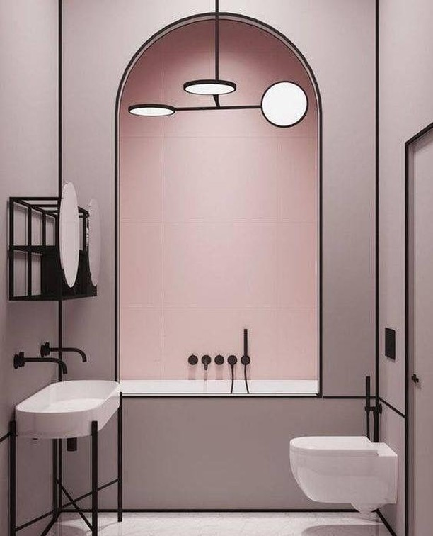 Perfect pink bathroom by Crosby Studios . . . #minimal #modernist #artdeco #interior #design #home #decor #homedecor #interiordesign #interiorinspo