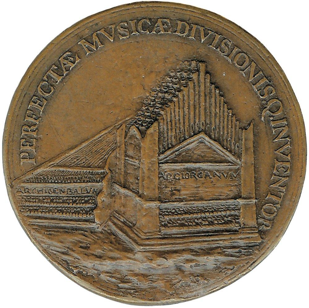 Medaille, Alessandro Vittoria zugeschrieben, einzige erhaltene bildliche Darstellung von Vicentinos Instrumenten