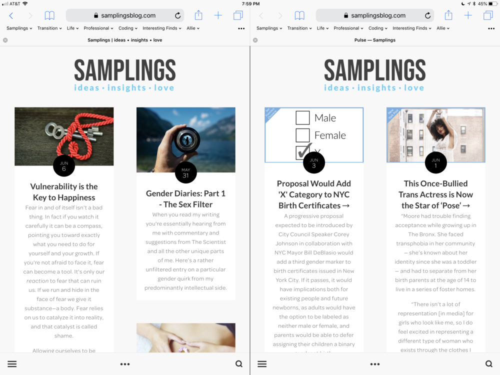 """Safari Split View on the 12.9"""" iPad Pro - windows can't be resized like when running separate apps side by side, and despite the screen real-estate, both windows render mobile websites."""
