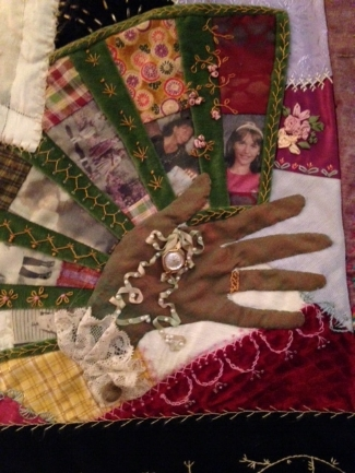 moms crazy quilt with children