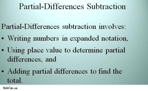 subtracting using partial differences