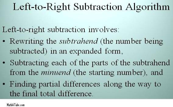 left to right subtraction algorithm