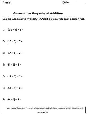 properties of addition worksheets associative commutative properties of addition worksheet