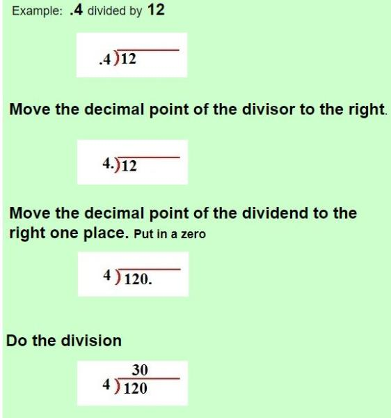 dividing whole numbers by decimals