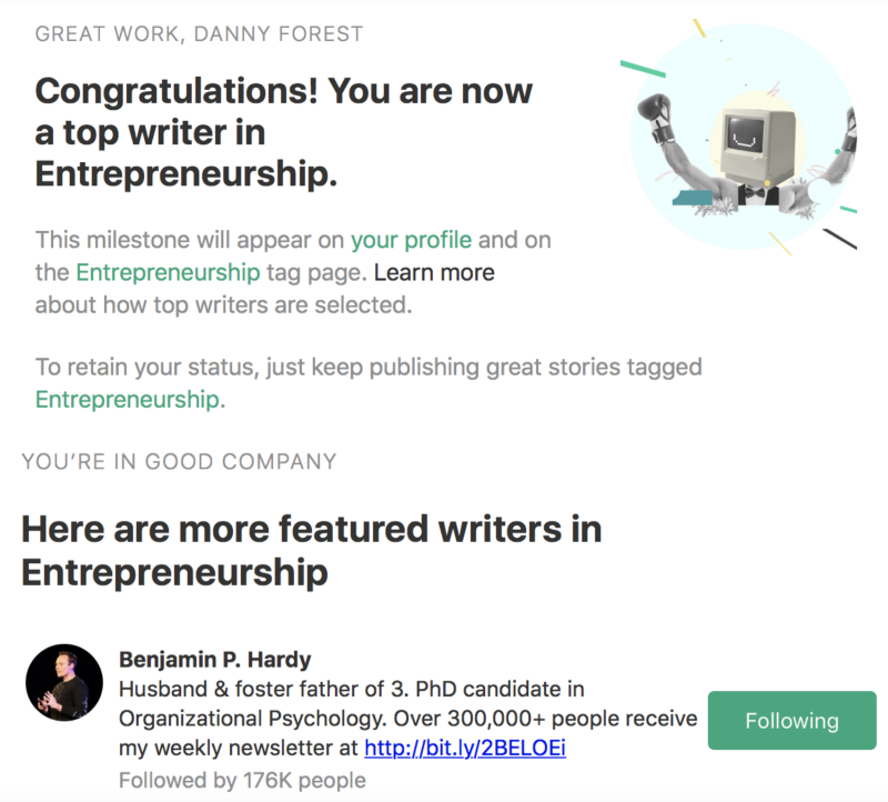 First top writer email I received from Medium, again, next to  Benjamin P.Hardy