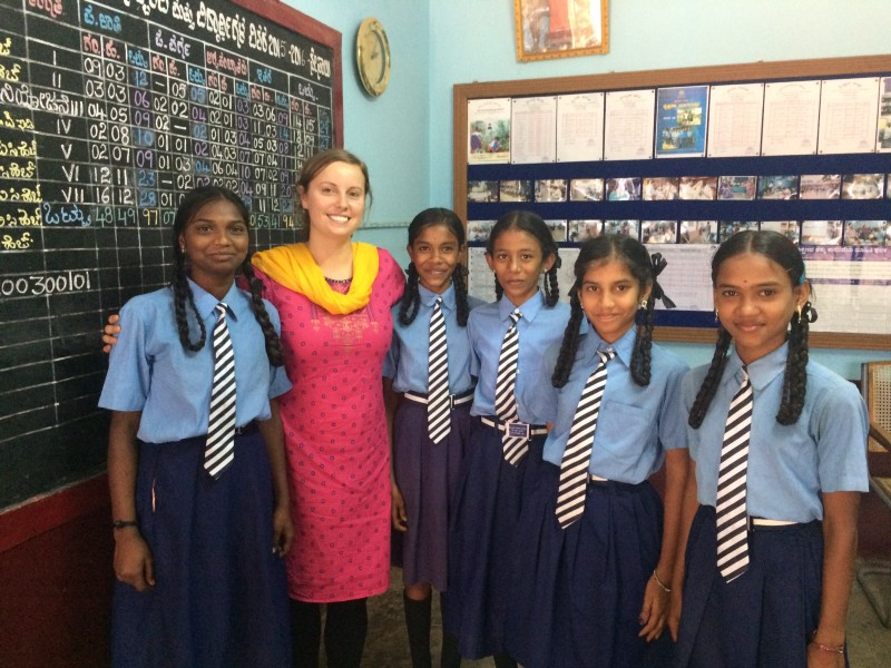 Audrey with young students after conducting a focus group session to help set up a menstrual hygiene workshop. Even to this day, it is a big taboo in some parts of India.