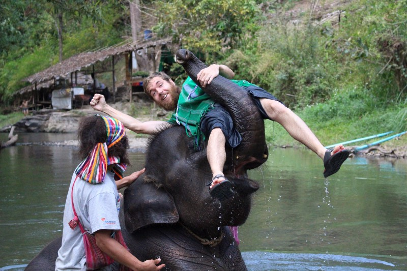 Washing, feeding and goofing around with elephants in Thailand. We paid extra to support an NGO that really cares for them.