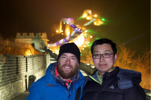 Sneaking out on the Great Wall of China at night with our local friend. He had contacts. I know this looks photoshopped. It's not.