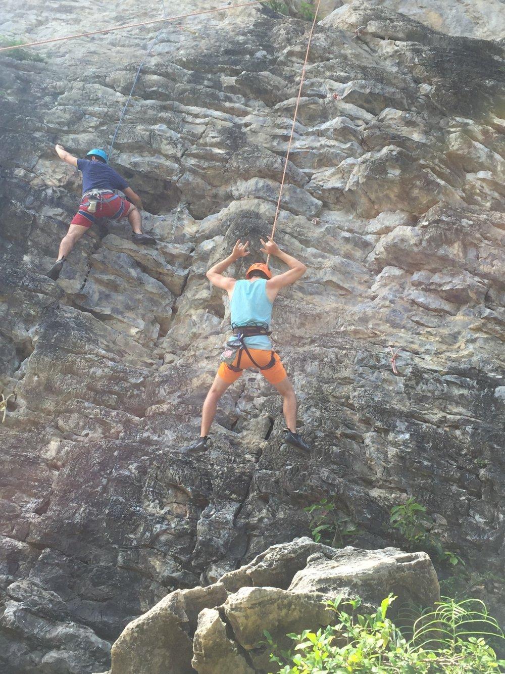 Rock-climbing by Railey Beach in Thailand