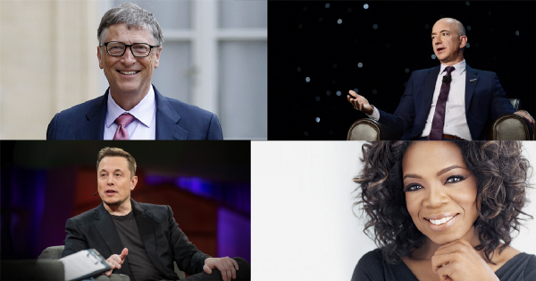 From top-left to bottom-right:  Bill Gates ,  Jeff Bezos ,  Elon Musk , and  Oprah Winfrey