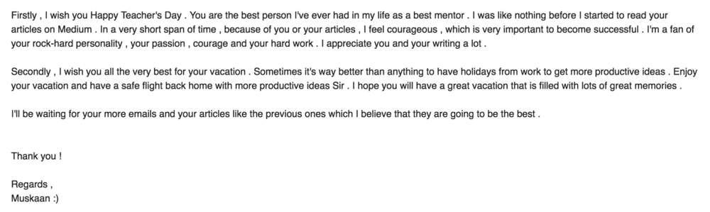 Email comment from a reader